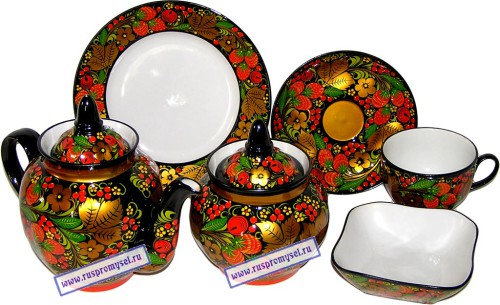 Khokhloma painting. Tea set 'Russian' (porcelain, metal)