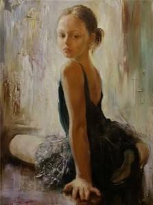 Little ballerina, painting by Russian realist artist Anna Vinogradova