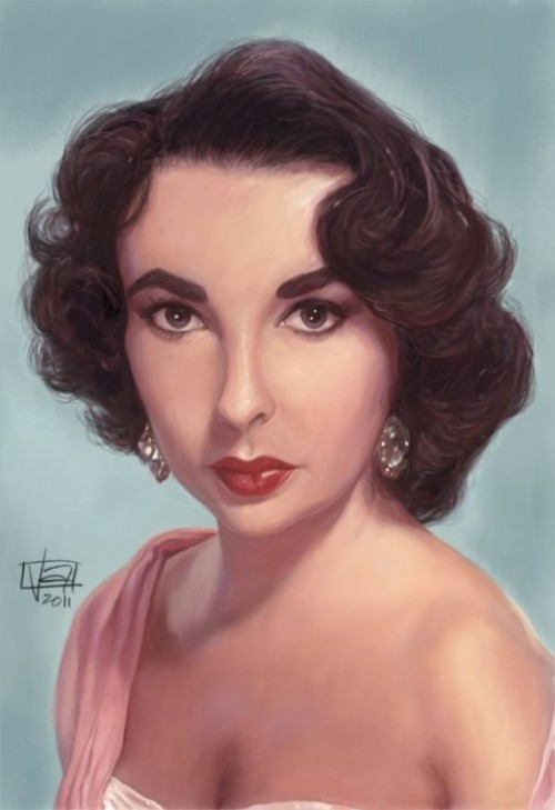 Liz Taylor. Caricature Portraits by Vincent Altamore