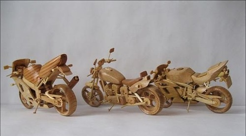 Wooden Mini Motorcycles by Vyacheslav Voronovich