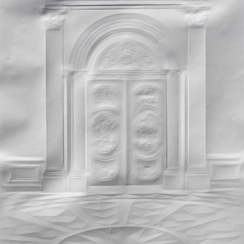 Doors. Paper art by German artist Simon Schubert