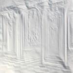 Halls of a museum. Paper art by German artist Simon Schubert