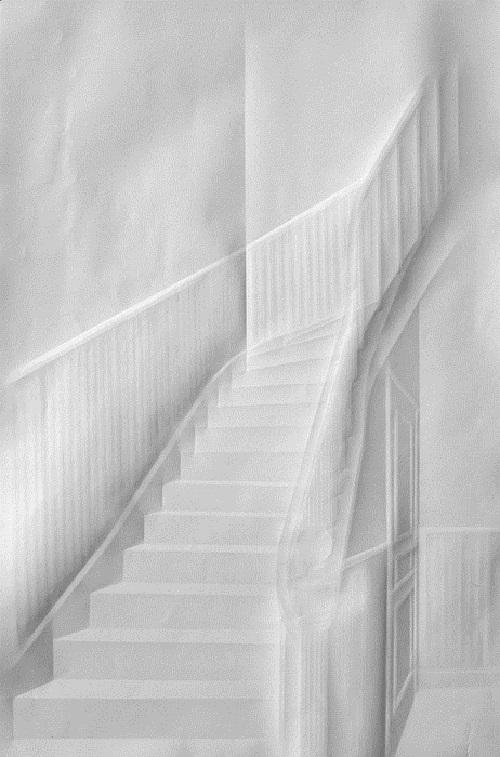 Long staircase. Paper art by German artist Simon Schubert
