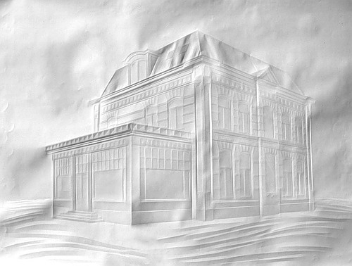 Architecture drawing on a white sheet of paper. Art by Simon Schubert