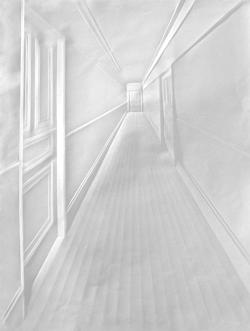 A coridor. Amazing Paper art by German artist Simon Schubert