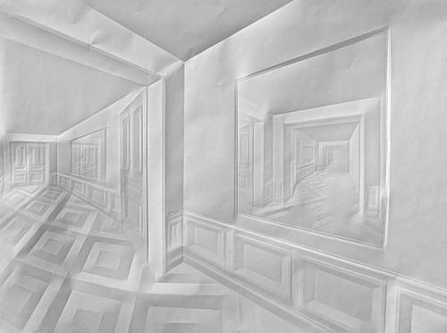 Details of interior. Paper art by German artist Simon Schubert
