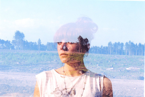 Spring forest and girl's silhouette. Double Exposure photographs by Oliver Morris