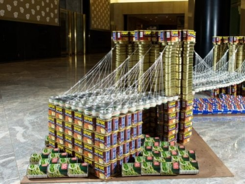 A bridge. Creative Sculptures made out of different canned food brands. World Financial Center, New York