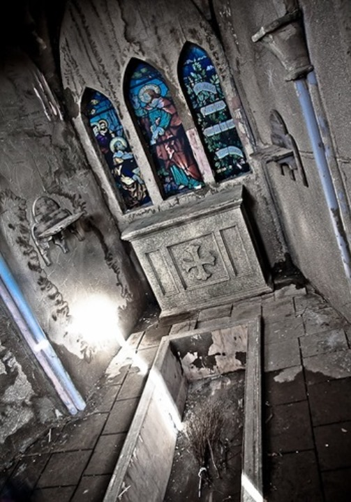 Gothic horror. Details of Serednikovo church