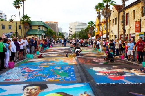 Street art at Burns Square, The Sarasota Chalk Festival