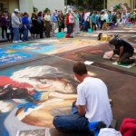 A street artist working at Burns Square, Sarasota Chalk Festival