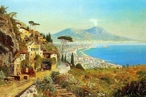 The Bay of Naples. Austrian painter Alois Arnegger