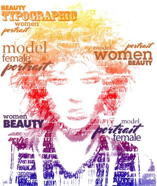 Women beauty. Typographic Portrait