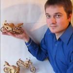Wooden Mini Motorcycles by Vyacheslav Voronovich