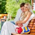 Happy together, Volleyball star Lesya Makhno and handball star Egor Evdokimov