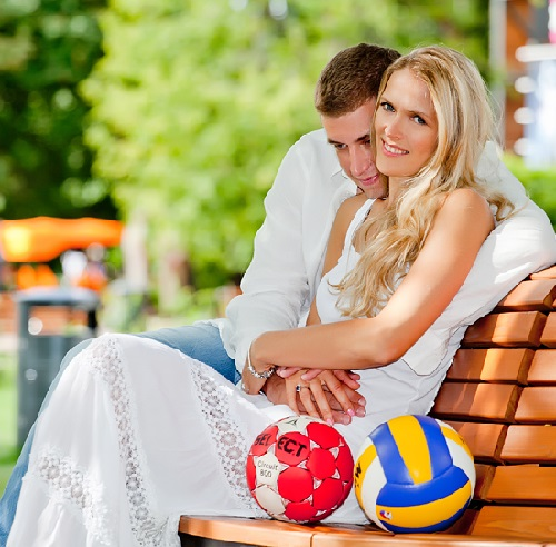 Happy together, Volleyball star Lesya Makhno and handball star Egor Evdokimov