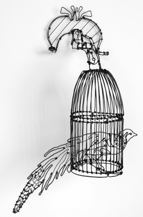 Peacock in a cage. Wire artworks by Rhode Island sculptor and artist Sonny Rolle
