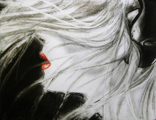 Hair. Charcoal drawing by Polish self-taught artist Kate Cain