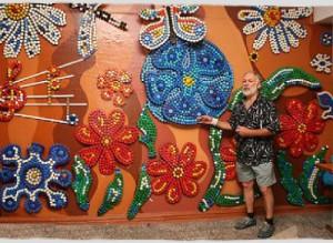 bottle cap mosaic by Valery Kravtsov