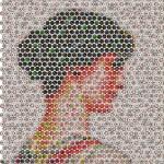 Mosaic of bottle caps