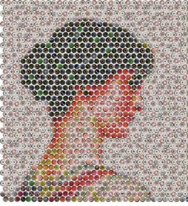 mosaic of beer bottles caps. Portrait of 'The Stranger'