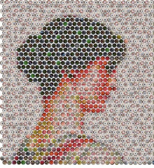 mosaic of beer bottles caps. Portrait of 'The Stranger'