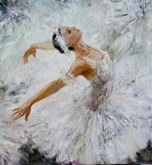 "Ballet in paintings. White Swan, from series ""Russian ballet 21st century"", painting by Russian realist artist Anna Vinogradova"