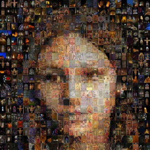 Mosaic portraits of friends, made of small photos of masterpieces of classic painters. Artist Maxim Ksuta