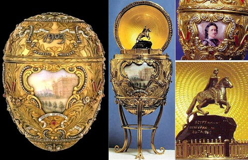 Egg - the monument to Peter I, work marked by Faberge. Made by a jeweler master Michael Perkhin in 1903 at the jewelry firm of his Imperial Majesty Nicholas II.