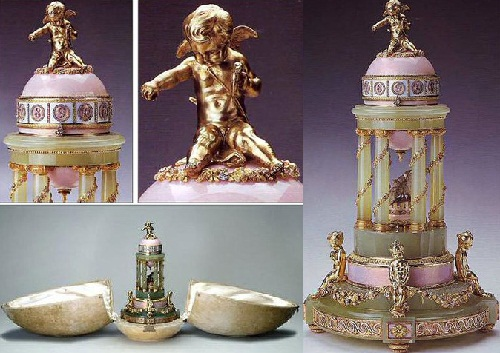 An egg with a colonnade done on Faberge Firm in 1905. Master jeweler - Henry Wigstrom