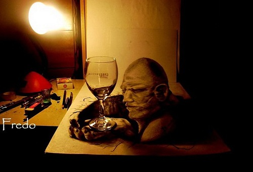 A man as if holding a wine glass in his hand. 3D Pencil Drawings by Chilean artist Fredo (Wladimir Inostroza)