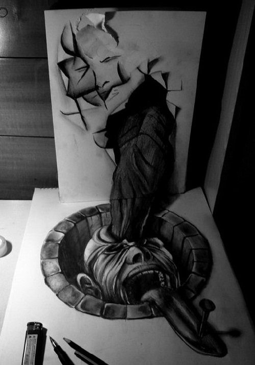3D Pencil Drawings by Chilean artist Fredo (Wladimir Inostroza)