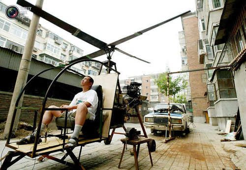 A self-styled Chinese inventor tests his homemade helicopter
