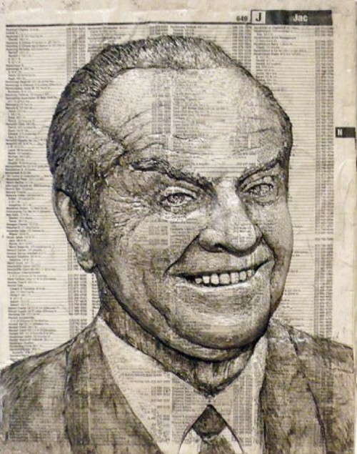 Jack Nicholson. Phone Book Carvings by Alex Queral