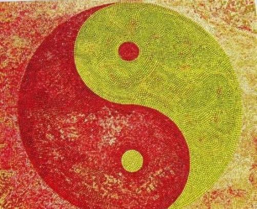 Yin and yang. Apple Market Festival in Kivik, Sweden