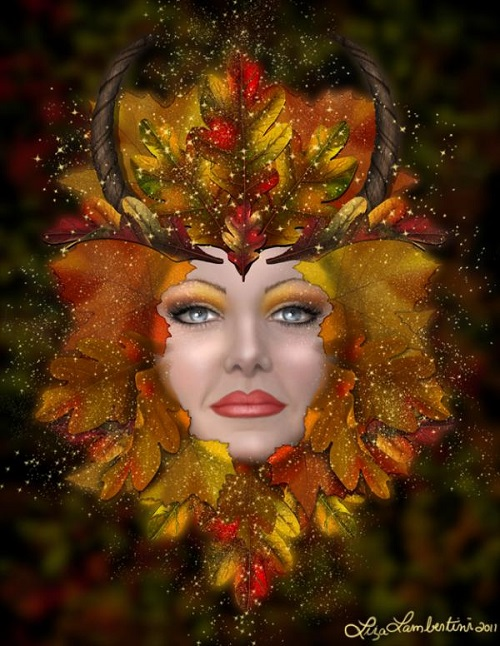 Autumn green woman. Fantasy painting by American artist Liza Lambertini