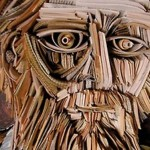 A fantasy figure made of books. Work by Nick Georgiou