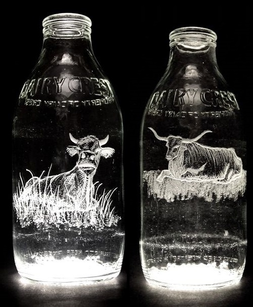 Milk Bottle Engravings by Charlotte Hughes-Martin