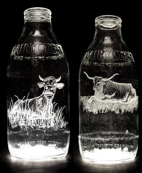Milk Bottle Engravings by Charlotte Hughes-Martin