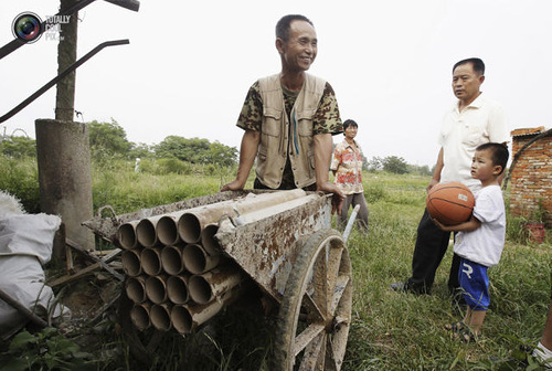 Weird Inventions Made by the Chinese. Chinese farmer Yang Youde pushes his homemade cannon