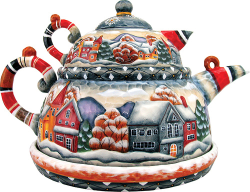 Gorgeous teapot. Christmas decoration by 'DeBrekht Artistic Studio Russian Santas'. artists Andrew and Vicka Gabriht