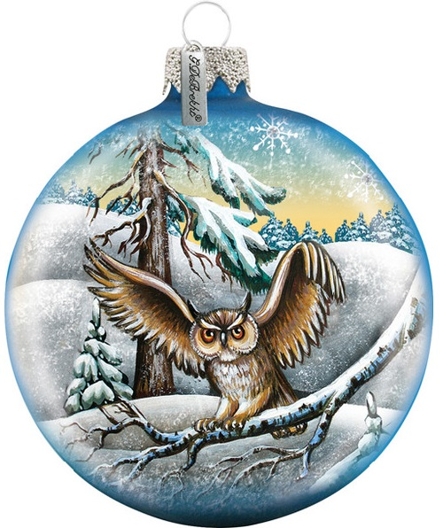 An owl. Christmas ball, decoration by Russian artists Andrew and Vicka Gabriht