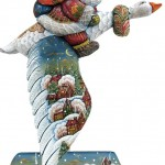 Flying on a goose Russian Santa. Christmas decoration