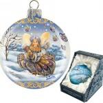 Winter joy handpainted Christmas ball. Work by 'DeBrekht Artistic Studio Russian Santas