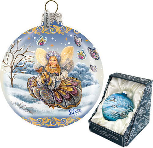 Winter joy handpainted Christmas ball. Work by 'DeBrekht Artistic Studio Russian Santas