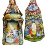 Figurines handpainted in Russian folk crafts style, depicting the Nativity of Jesus