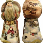 Winter holidays theme painted on figurines. artists Andrew and Vicka Gabriht
