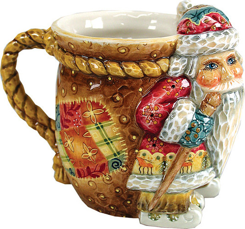 Porcelain cup handpainted. Christmas theme. Painting by Andrew and Vicka Gabriht