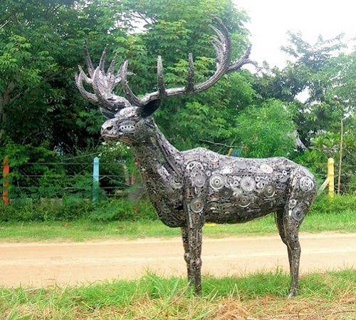 A deer sculpture made from recycled metal by Tom Samui