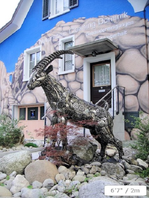 A mountain goat made from recycled metal by Tom Samui